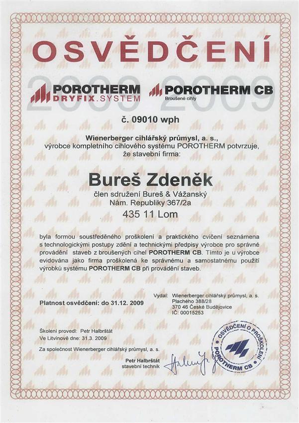 Certifikát Porotherm