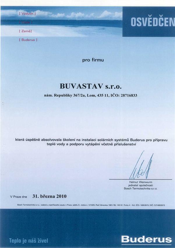 Certifikat solarní systémy Buderus