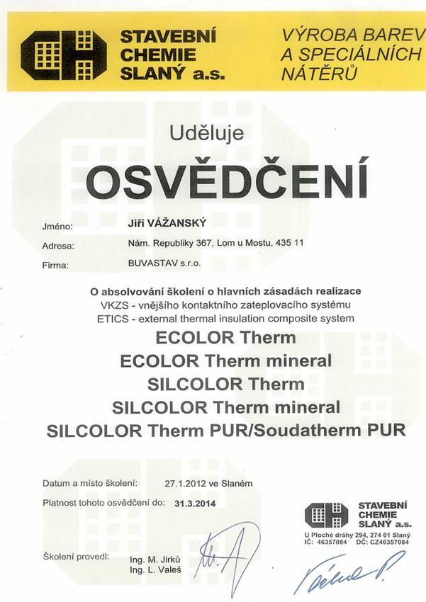 Certifikat Stavební Chemie Slaný