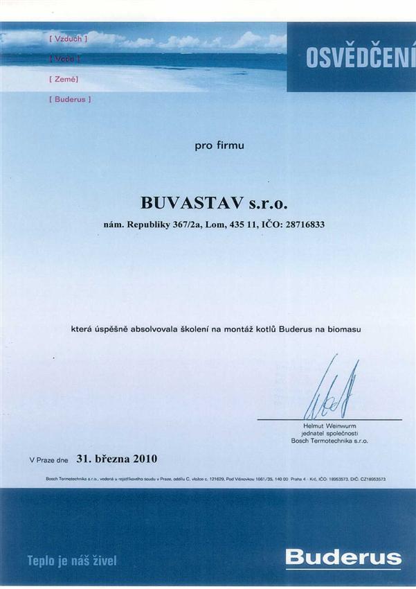 Certifikát montáž kotlů Buderus
