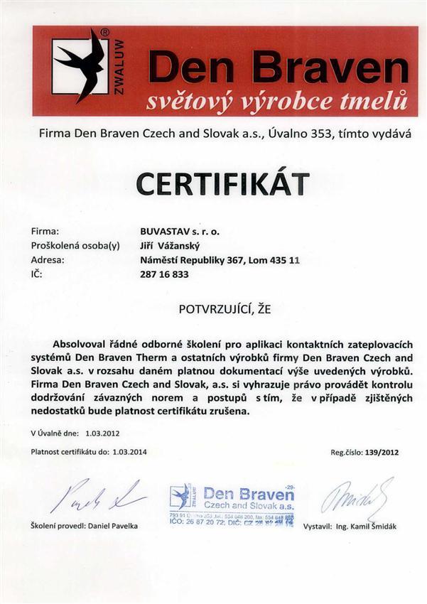 Certifikát Den Braven
