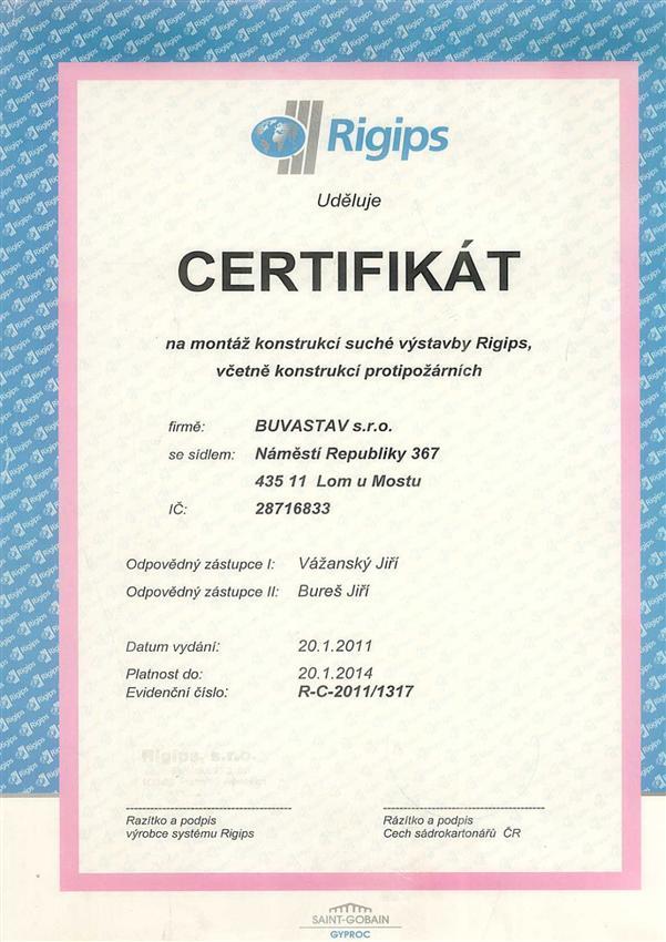 Certifikát suchá výstavba Rigips