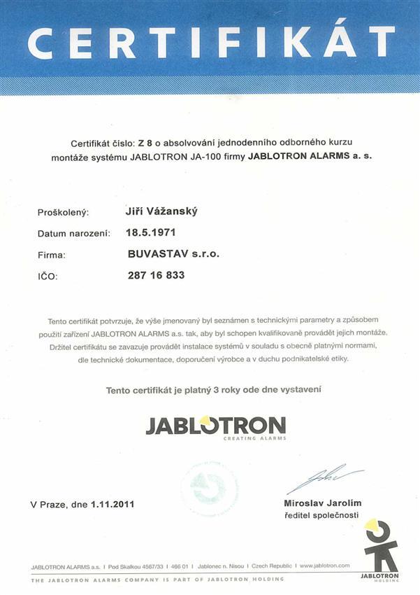 Certifikát Jablotron JA-100